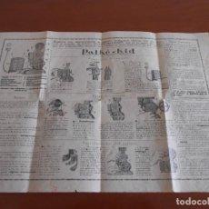 Antigüedades: PROYECTOR PATHE-KID CARTEL DESPLEGABLE CON EL MANUAL DE USO Y RECOMENDACIONES. Lote 159134202