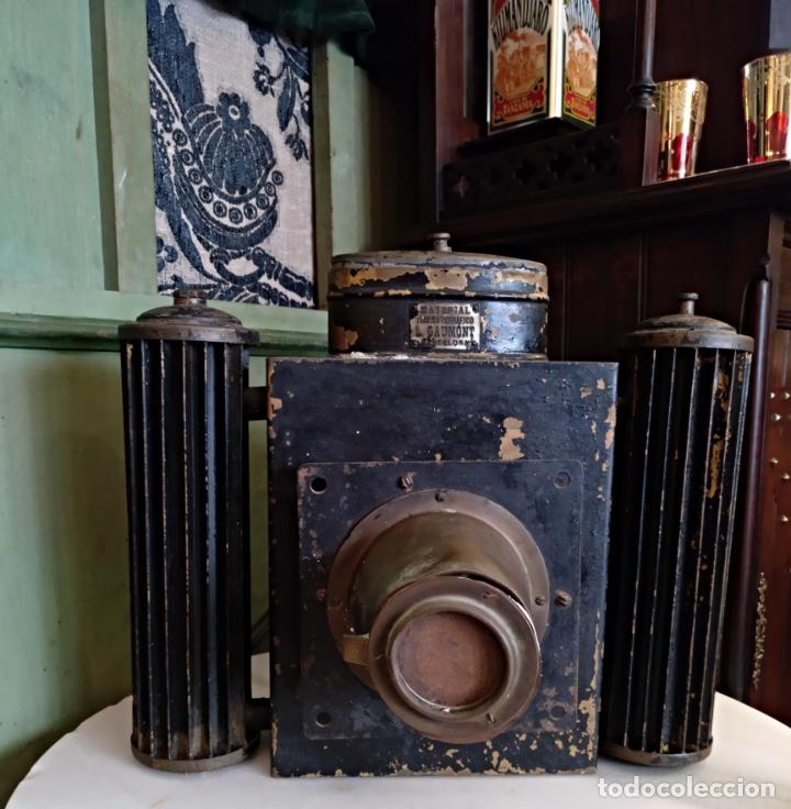 Antigüedades: ANTIGUO APARATO CINEMATOGRAFICO L. GAUMONT - BARCELONA - LINTERNA MAGICA - Foto 9 - 159283546