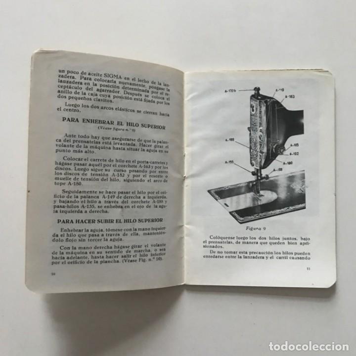 Antigüedades: Sigma. Libro de instrucciones y piezas catalogadas de la maquina de coser y bordar 10,4x15 cm - Foto 4 - 159376594