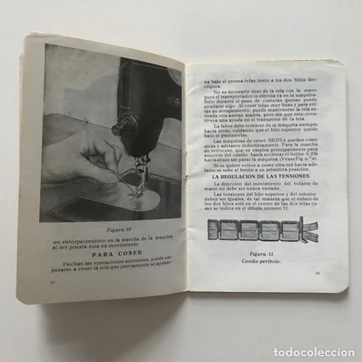 Antigüedades: Sigma. Libro de instrucciones y piezas catalogadas de la maquina de coser y bordar 10,4x15 cm - Foto 5 - 159376594