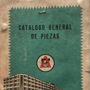 Alfa. Catálogo general de piezas. Máquinas de coser Alfa, SA. Eibar (España) 15,5x21,4 cm