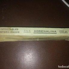 Antigüedades: ANTIGUA CAJA CON AMPOLLA LABORATORIO CRISOL MALAGA MEDICAMENTO SULFATO DE ADRENALINA . Lote 159432110