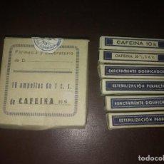 Antigüedades: ANTIGUA CAJA CON 6 AMPOLLAS LABORATORIO CLARIANA MELLA MEDICAMENTO CAFEINA. Lote 159433082