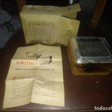 Antigüedades: ANTIGUA CAJA DE CARTON CON LATA PRECINTADA DE LINTUL TORTOSA VERGES OLIVERES MEDICAMENTO . Lote 159435142