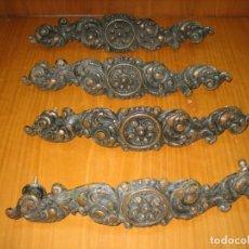 Antigüedades: LOTE DE ANTIGUOS TIRADORES EN BRONCE PARA ARMARIO O CÓMODA DE MADERA ANTIGUA. Lote 159761290