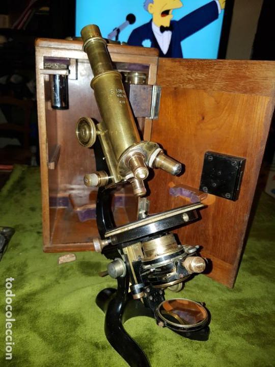 Antigüedades: MICROSCOPIO COMPLETO. SIGLO XIX - Foto 24 - 160265190