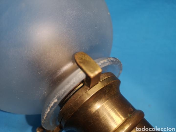 Antigüedades: Preciosa pareja de apliques quinques o lámparas de camarote barco en latón sistema cardan - Foto 6 - 160290778