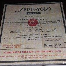 Antigüedades: CAJA ANTIGUA MADRID SALIA PREGL SEPTOYODO MEDICAMENTO AMPOLLAS LABORATORIO INDUSTRIA HISPANO ALEMANA. Lote 160335858