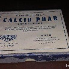 Antigüedades: CAJAS ANTIGUA PRECINTADA DE CALCIO PHAR DÁVILA LA CORUÑA INSTITUTO QUÍMICO MEDICAMENTO. Lote 160337318