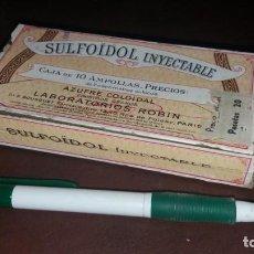 Antigüedades: ANTIGUA CAJA PRECINTADA DE AMPOLLAS LABORATORIOS ROBIN BOUSQUET SULFOIDOL INYECTABLE MEDICAMENTO. Lote 160349130