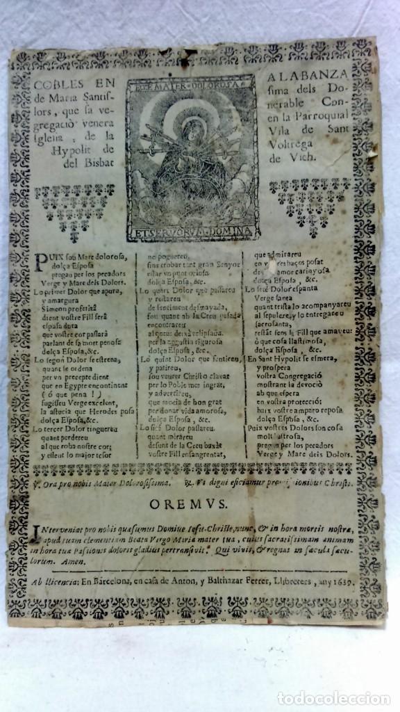 Antigüedades: ANTIGUO CLICHÉ TIPOGRÁFICO, PLANCHA, TROQUEL O MATRIZ METÁLICA COBLES EN ALABANZA MARIA DELS DOLORS. - Foto 2 - 160477606