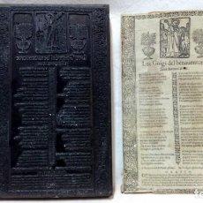 Antigüedades: ANTIGUO CLICHÉ TIPOGRÁFICO, PLANCHA O MATRIZ METÁLICA GOIGS DEL BENAVENTURAT SANT ANTONI ABAT.. Lote 214655893