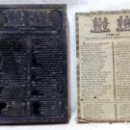Antigüedades: ANTIGUO CLICHÉ TIPOGRÁFICO, PLANCHA O MATRIZ METÁLICA COBLAS PER PODER CANTAR EN TEMPS DE CAMILLERAS. Lote 160478770