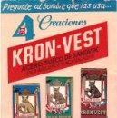 Antigüedades: KRON-VEST CARTÓN PUBLICIDAD Y MUESTRA DE 4 HOJAS AFEITAR. Lote 160643418