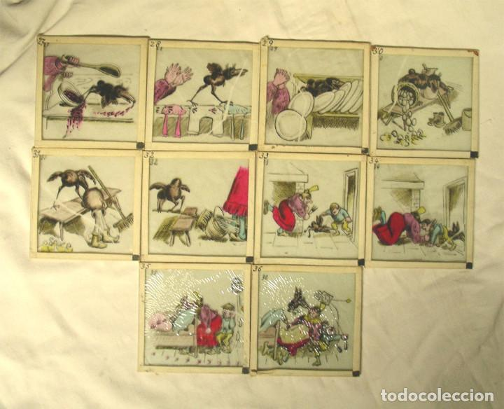 LOTE 10 CRISTALES LINTERNA MÁGICA S XIX. MED. 8 X 8 CM (Antigüedades - Técnicas - Aparatos de Cine Antiguo - Linternas Mágicas Antiguas)