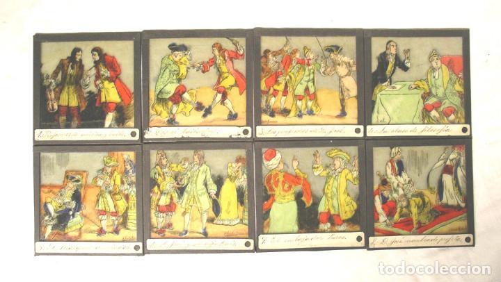 LOTE 8 CRISTALES PARA LINTERNA MAGICA. MED. 8 X 8 CM (Antigüedades - Técnicas - Aparatos de Cine Antiguo - Linternas Mágicas Antiguas)