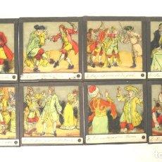 Antigüedades: LOTE 8 CRISTALES PARA LINTERNA MAGICA. MED. 8 X 8 CM. Lote 161041438