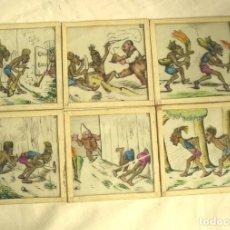 Antigüedades: LOTE 6 CRISTALES PARA LINTERNA MAGICA. MED. 8 X 8 CM. Lote 161041738