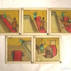 Antigüedades: LOTE 5 CRISTALES PARA LINTERNA MAGICA. MED. 8 X 8 CM. Lote 161041802