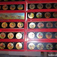 Antigüedades: 16 PLACAS DE CRISTAL PARA LINTERNA MAGICA, MÈDIDAS 3,4 * 13 CMS, PINTADOS A MANO.. Lote 161297810