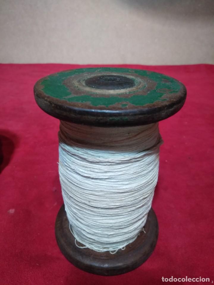BOBINA CARRETE HILO MADERA IDEAL DECORACION MERCERIA 13 CM ALTURA (Antigüedades - Técnicas - Máquinas de Coser Antiguas - Complementos)