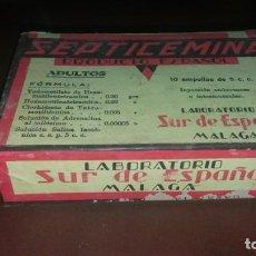 Antigüedades: CAJA PRECINTADA ANTIGUA DE SEPTICEMINA LABORATORIO MALAGA SUR DE ESPAÑA PRODUCTO ESPAÑOL MEDICAMENTO. Lote 161602430