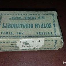 Antigüedades: CAJA VACÍA ANTIGUA DE LABORATORIO HYALOS SEVILLA LIMONADA PULGANTE NIÑO MEDICAMENTO. Lote 161974238