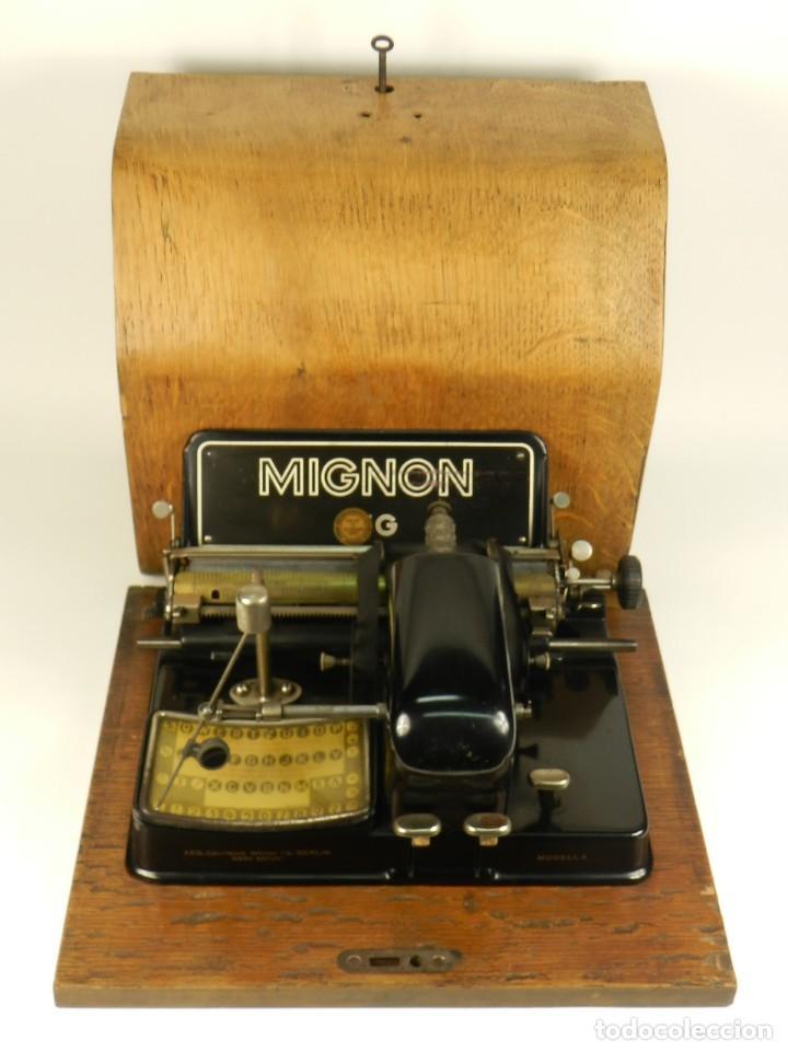MAQUINA DE ESCRIBIR MIGNON Nº4 AÑO 1924. RAREZA: TECLADO ESPAÑOL (Antigüedades - Técnicas - Máquinas de Escribir Antiguas - Mignon)