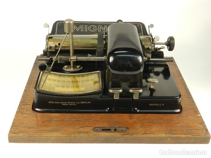 Antigüedades: MAQUINA DE ESCRIBIR MIGNON Nº4 AÑO 1924. RAREZA: TECLADO ESPAÑOL - Foto 4 - 162307830