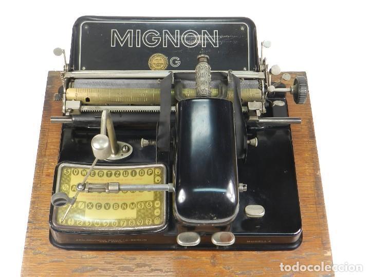 Antigüedades: MAQUINA DE ESCRIBIR MIGNON Nº4 AÑO 1924. RAREZA: TECLADO ESPAÑOL - Foto 5 - 162307830