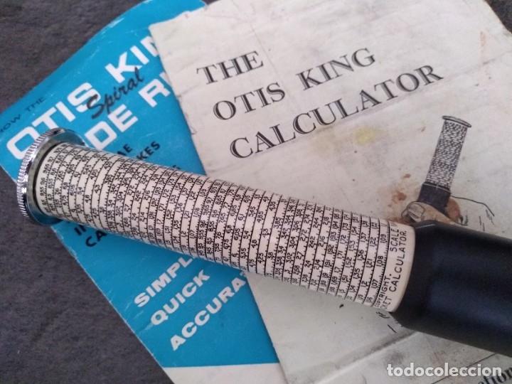 Antigüedades: ANTIGUA CALCULADORA DE BOLSILLO OTIS KING TELESCOPICA INGLATERRA AÑOS 50 CON SU CAJA E INTRUCCIONES - Foto 2 - 162345436