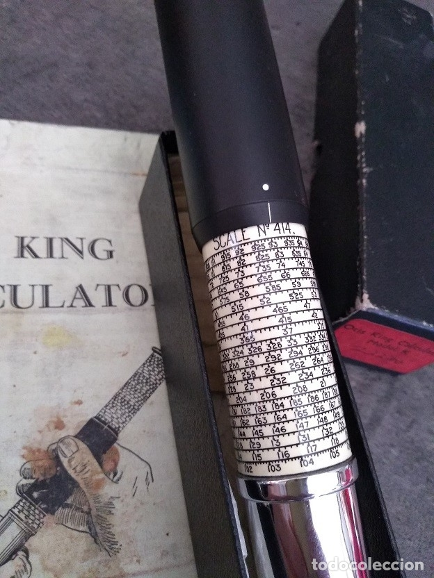 Antigüedades: ANTIGUA CALCULADORA DE BOLSILLO OTIS KING TELESCOPICA INGLATERRA AÑOS 50 CON SU CAJA E INTRUCCIONES - Foto 3 - 162345436