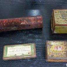 Antigüedades: LOTE 4 CAJAS METÁLICAS ANTIGUOS MEDICAMENTOS. Lote 162622146