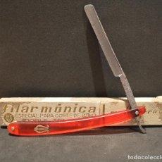 Antigüedades: ANTIGUA NAVAJA JOSE MONTSERRAT POU FILARMONICA DE DOBLE TEMPLE ESPECIAL CORTE DE PELO. Lote 162928382