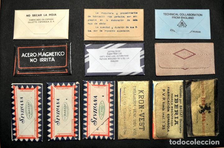 Antigüedades: LOTE 12 HOJAS DE AFEITAR CUCHILLAS CON FUNDA TODAS DISTINTAS - Foto 3 - 163518776