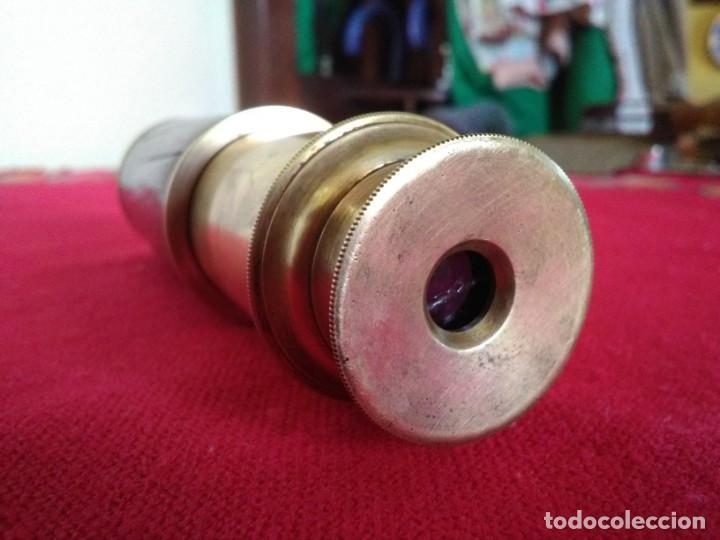 Antigüedades: Catalejos Monocular muy antiguo de madera y bronce - Foto 2 - 163550466