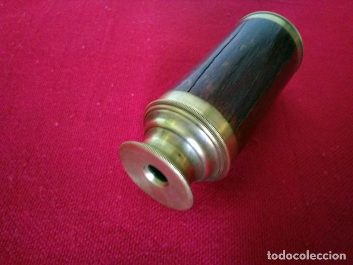 Antigüedades: Catalejos Monocular muy antiguo de madera y bronce - Foto 3 - 163550466
