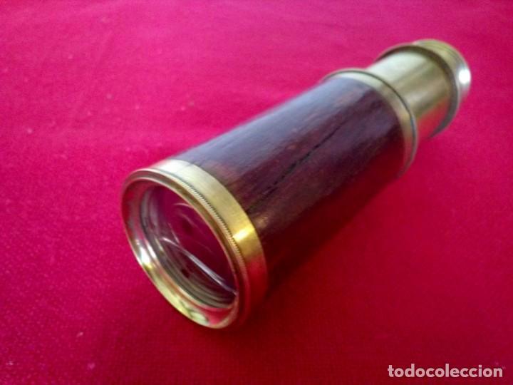 Antigüedades: Catalejos Monocular muy antiguo de madera y bronce - Foto 6 - 163550466