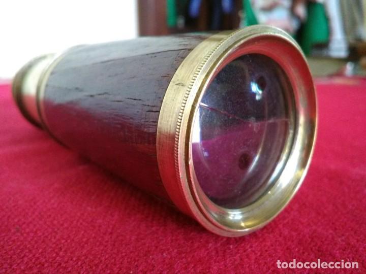 Antigüedades: Catalejos Monocular muy antiguo de madera y bronce - Foto 7 - 163550466