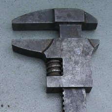 Antigüedades - llave inglesa grande de acero, reishauer 2A (32cm aprox, apertura max 9,5cm) - 163743914