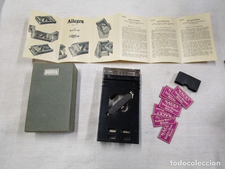 Antigüedades: ALLEGRO - MOD. L - MAQUINILLA AFILAR HOJAS DE AFEITAR, DE SUIZA, SAFETY RAZOR + INFO - Foto 4 - 163966934