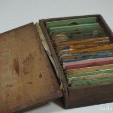 Antigüedades: MICROSCOPIO. ANTIGUA COLECCIÓN DE 24 PREPARACIONES MICROSCÓPICAS C.1870. Lote 164730782