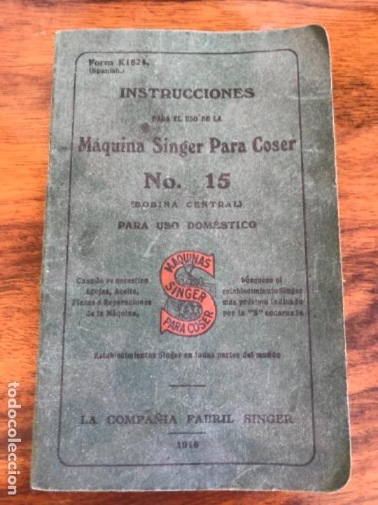 Antigüedades: Máquina de Coser Singer N.15 Con Mueble y Taburete. Año 1916 - Foto 3 - 164831774
