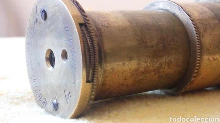 CATALEJO NAVAL ANTIGUO 4 TRAZOS, CON FUNDA, FIRMADO POR M.WOERLE & KORLRUB. ( MUNCHEN). 20CM (Antigüedades - Técnicas - Instrumentos Ópticos - Catalejos Antiguos)