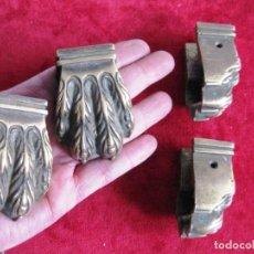 Antigüedades: 4 GARRAS DE BRONCE, PATAS PATA MUEBLE ANTIGUO 7 X 5 X 3 CMS. PESAN 860 GRS.. Lote 165193554
