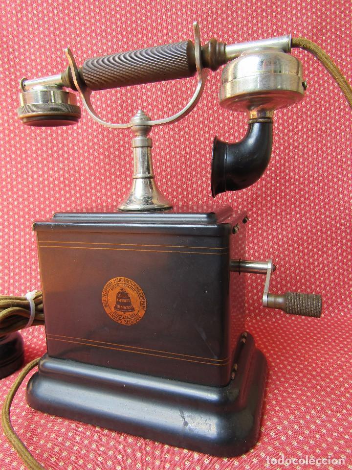 Teléfonos: Antiguo teléfono de la marca Bell Telephone Company fabricado Anvers, Belgica principios de siglo XX - Foto 2 - 165201882