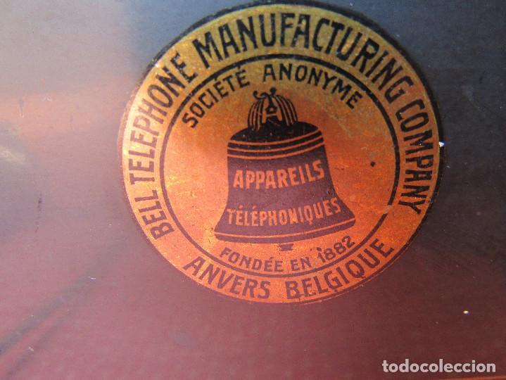 Teléfonos: Antiguo teléfono de la marca Bell Telephone Company fabricado Anvers, Belgica principios de siglo XX - Foto 4 - 165201882