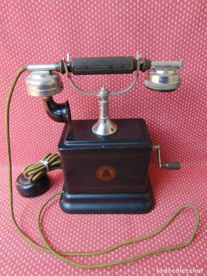 Teléfonos: Antiguo teléfono de la marca Bell Telephone Company fabricado Anvers, Belgica principios de siglo XX - Foto 12 - 165201882