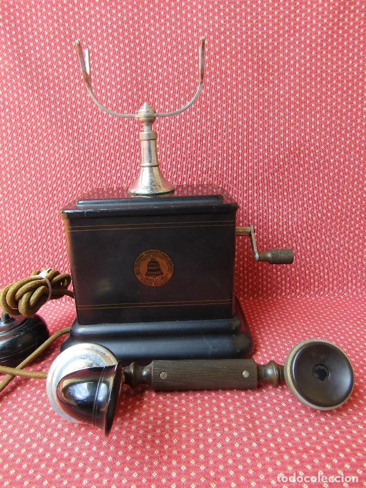 Teléfonos: Antiguo teléfono de la marca Bell Telephone Company fabricado Anvers, Belgica principios de siglo XX - Foto 13 - 165201882