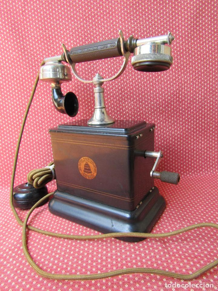 Teléfonos: Antiguo teléfono de la marca Bell Telephone Company fabricado Anvers, Belgica principios de siglo XX - Foto 14 - 165201882